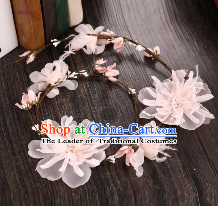Top Grade Handmade Chinese Classical Hair Accessories Baroque Style Light Pink Flowers Garland, Bride Hair Sticks Hair Clasp for Women