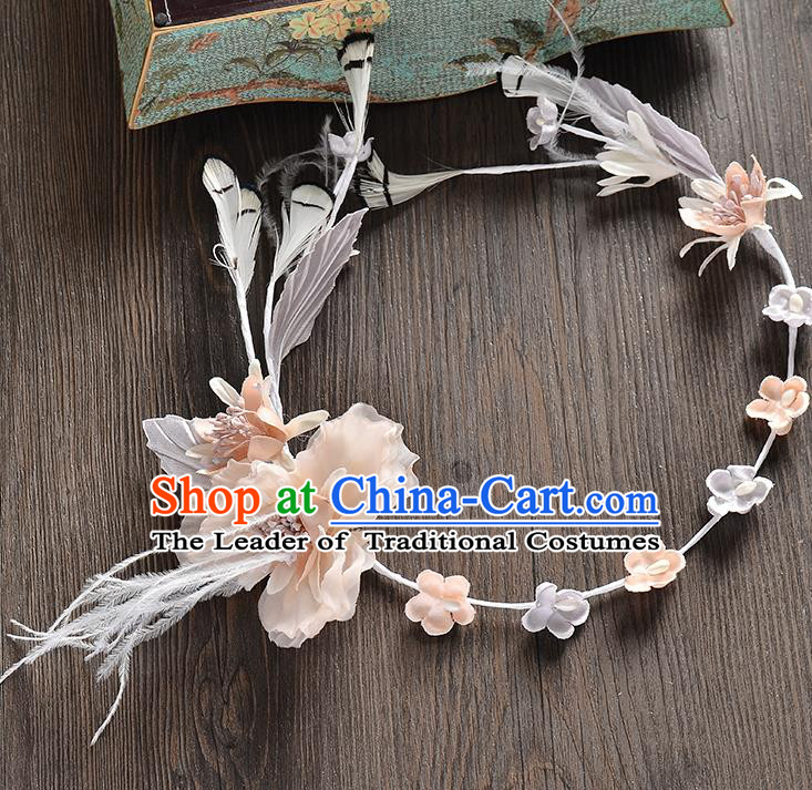 Top Grade Handmade Chinese Classical Hair Accessories Baroque Style Light Pink Flowers Feather Garland, Bride Hair Sticks Hair Clasp for Women