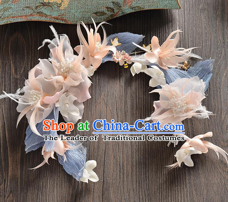 Top Grade Handmade Chinese Classical Hair Accessories Baroque Style Pink Flowers Feather Garland, Bride Hair Sticks Hair Clasp for Women