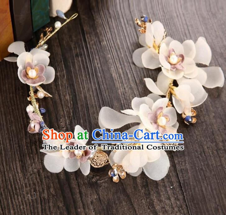 Top Grade Handmade Chinese Classical Hair Accessories Baroque Style White Flowers Garland, Bride Hair Sticks Hair Clasp for Women
