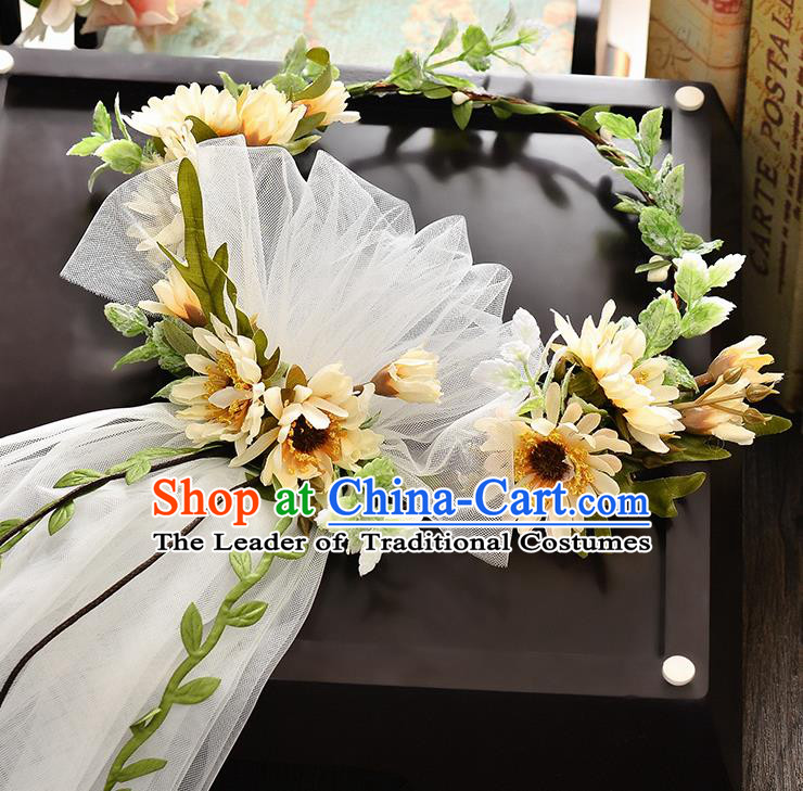 Top Grade Handmade Chinese Classical Hair Accessories Baroque Style Wedding Yellow Flowers Headband and Veil, Bride Hair Sticks Hair Clasp for Women