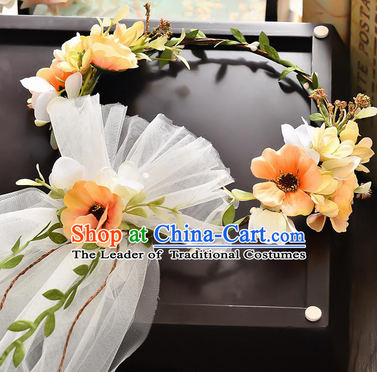 Top Grade Handmade Chinese Classical Hair Accessories Baroque Style Wedding Orange Flowers Headband and Veil, Bride Hair Sticks Hair Clasp for Women