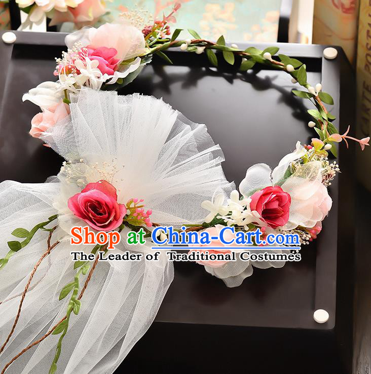 Top Grade Handmade Chinese Classical Hair Accessories Baroque Style Wedding Rosy Flowers Headband and Veil, Bride Hair Sticks Hair Clasp for Women
