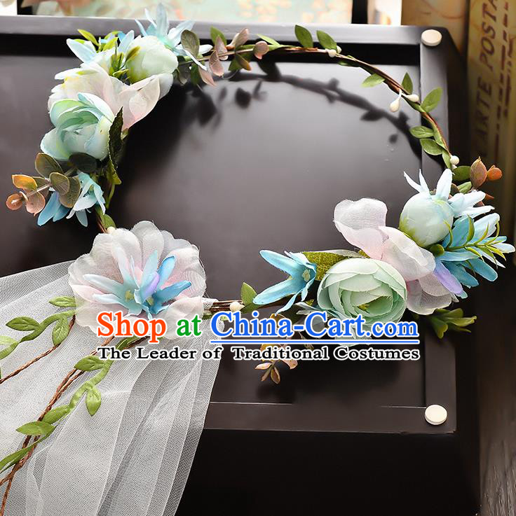 Top Grade Handmade Chinese Classical Hair Accessories Baroque Style Wedding Blue Flowers Headband and Veil, Bride Hair Sticks Hair Clasp for Women