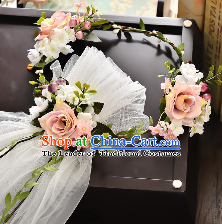 Top Grade Handmade Chinese Classical Hair Accessories Baroque Style Wedding Pink Flowers Headband Garland and Veil, Bride Hair Sticks Hair Clasp for Women
