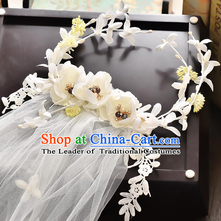 Top Grade Handmade Chinese Classical Hair Accessories Baroque Style Wedding White Lace Flowers Garland and Veil, Bride Hair Sticks Hair Clasp for Women