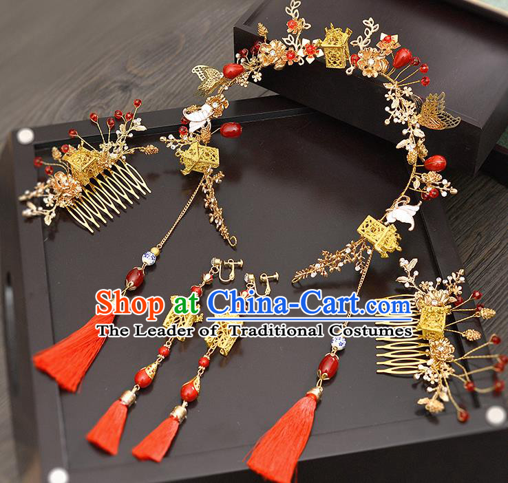 Traditional Handmade Chinese Ancient Classical Hair Accessories Xiuhe Suit Red Tassel Hairpin Step Shake Phoenix Coronet Complete Set, Hair Sticks Hair Jewellery Hair Fascinators for Women