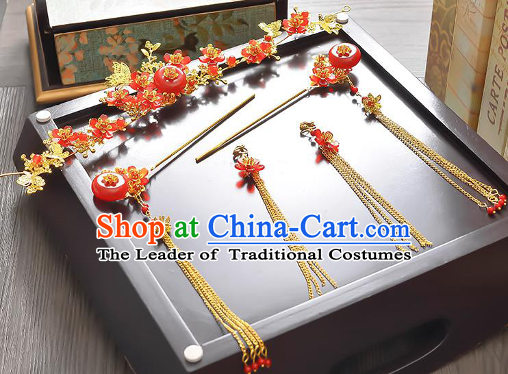 Traditional Handmade Chinese Ancient Classical Hair Accessories Xiuhe Suit Red Jade Tassel Hairpin Phoenix Coronet Complete Set, Step Shake Hair Sticks Hair Jewellery Hair Fascinators for Women