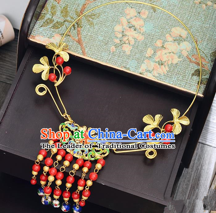 Top Grade Handmade Chinese Classical Jewelry Accessories Xiuhe Suit Wedding Necklace Bride Red Beads Tassel Collar Necklet for Women
