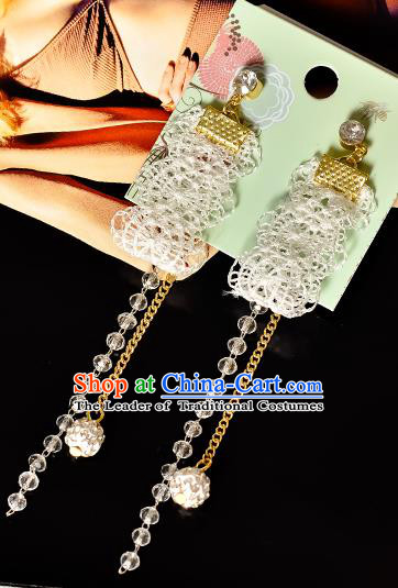 Top Grade Handmade Chinese Classical Jewelry Accessories Princess Wedding Earrings Bride Lace Tassel Eardrop for Women