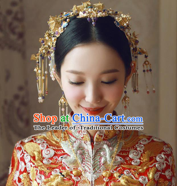 Traditional Handmade Chinese Ancient Wedding Hair Accessories Xiuhe Suit Phoenix Coronet Complete Set, Bride Tassel Step Shake Hanfu Hairpins Hair Sticks Hair Jewellery for Women