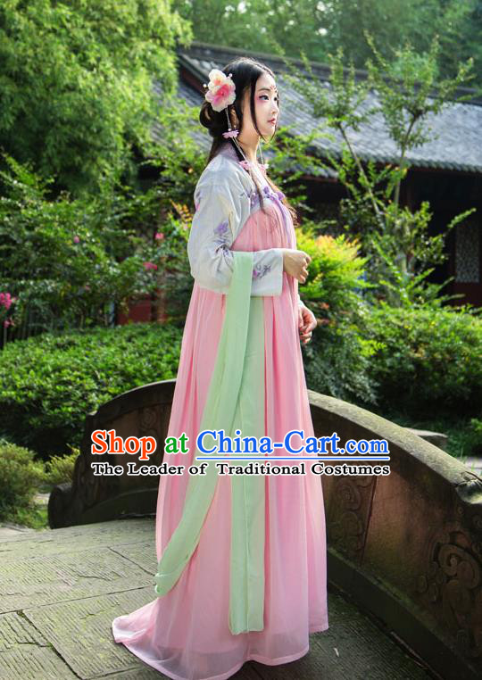 Traditional Chinese Tang Dynasty Imperial Consort Hanfu Costume, China Ancient Pink Slip Dress Palace Princess Peri Printing Clothing for Women