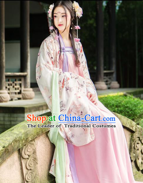 Traditional Chinese Tang Dynasty Imperial Consort Hanfu Costume, China Ancient Pink Dress Palace Princess Peri Printing Clothing for Women