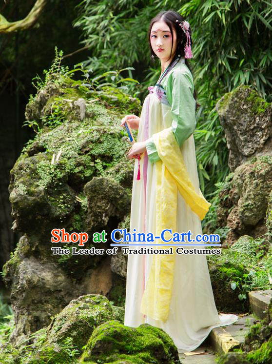 Traditional Chinese Tang Dynasty Imperial Consort Hanfu Costume, China Ancient Green Slip Dress Palace Princess Peri Printing Clothing for Women