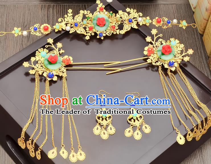 Traditional Handmade Chinese Ancient Wedding Hair Accessories Xiuhe Suit Tassel Step Shake Green Jade Frontlet Complete Set, Bride Hair Sticks Hair Jewellery for Women