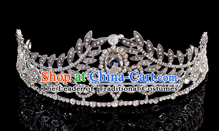 Top Grade Handmade Chinese Classical Hair Accessories Baroque Style Wedding Crystal Leaf Royal Crown, Bride Princess Hair Kether Jewellery Hair Clasp for Women