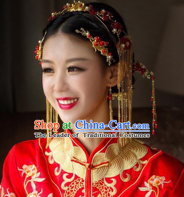 Traditional Handmade Chinese Ancient Wedding Hair Accessories Xiuhe Suit Red Tassel Step Shake Complete Set, Bride Hanfu Hair Sticks Hair Jewellery for Women