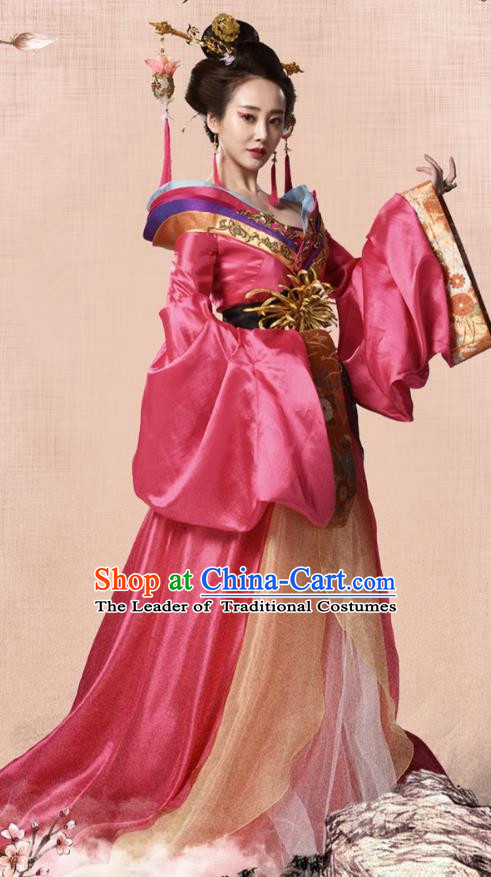 Traditional Chinese Tang Dynasty Imperial Concubine Embroidery Costume, Once Upon a Time Chinese Ancient Palace Lady Hanfu Dress Clothing for Women