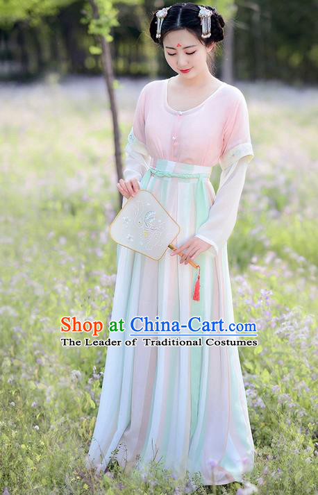 Traditional Ancient Chinese Costume Tang Dynasty Palace Lady Embroidery Slip Skirt Half-Sleeves, Elegant Hanfu Clothing Chinese Princess Costume for Women