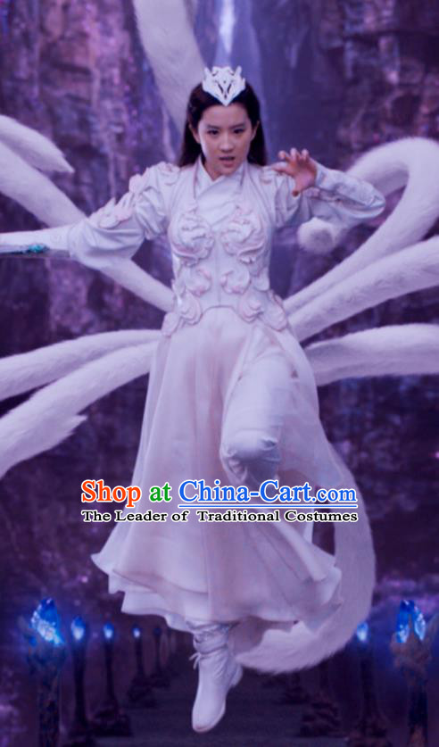 Traditional Ancient Chinese Mythologies Fairy Fox Embroidery Dance Costume, Once Upon a Time Chinese Palace Lady Hanfu Armor Princess Clothing for Women