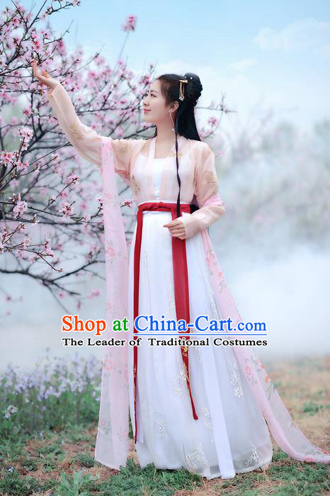 Traditional Ancient Chinese Costume Song Dynasty Palace Lady Embroidery Butterfly Blouse and Skirt, Elegant Hanfu Clothing Chinese Princess Costume for Women