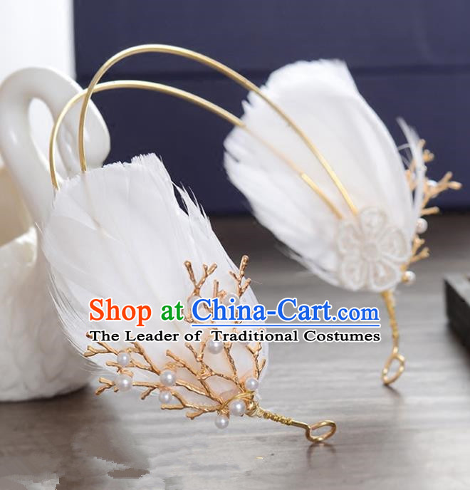 Top Grade Handmade Chinese Classical Hair Accessories Princess Wedding Feather Hair Clasp Hair Stick Headband Bride Headwear for Women