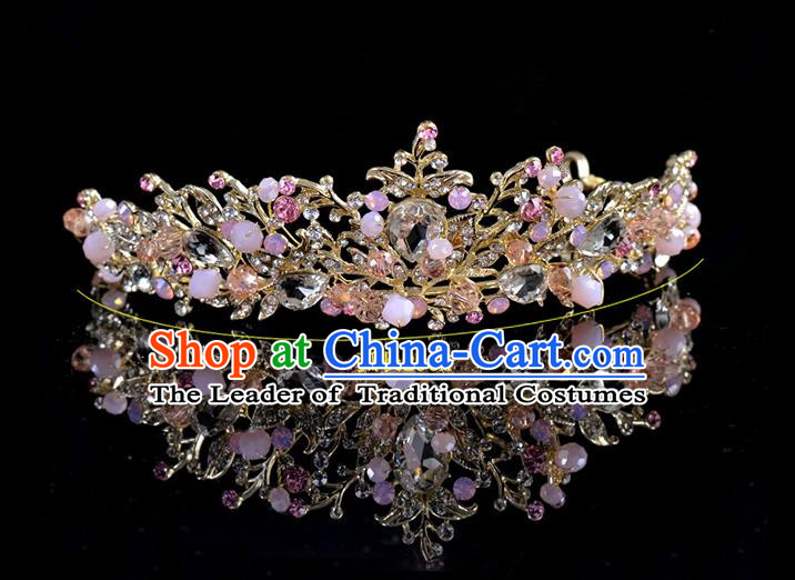 Top Grade Handmade Chinese Classical Hair Accessories Princess Wedding Pink Lace Flower Hair Clasp Hair Stick Headband Bride Headwear for Women