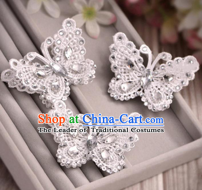 Top Grade Handmade Chinese Classical Hair Accessories Princess Wedding Lace Butterfly Hair Claw Hair Stick Bride Headwear for Women