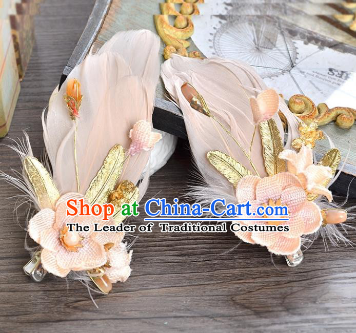 Top Grade Handmade Chinese Classical Hair Accessories Princess Wedding Pink Feather Flower Hair Claw Hair Stick Bride Headwear for Women