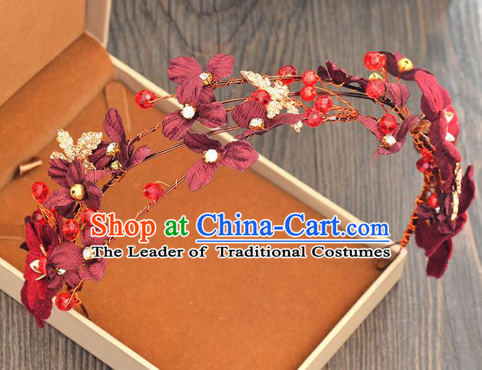 Top Grade Handmade Chinese Classical Hair Accessories Princess Wedding Wine Red Flowers Hair Clasp Hair Stick Bride Headwear for Women