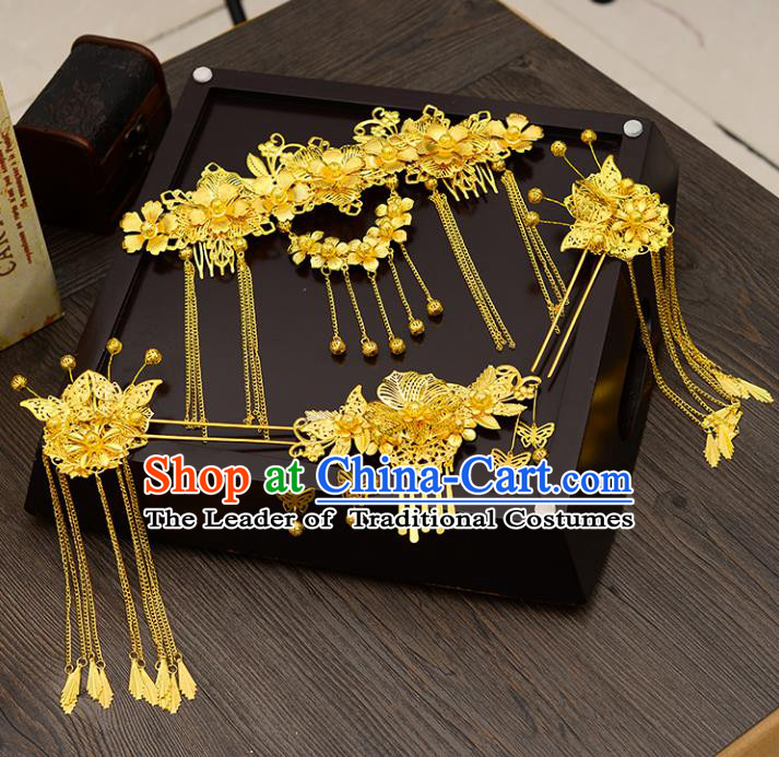 Traditional Handmade Chinese Ancient Wedding Hair Accessories Xiuhe Suit Golden Phoenix Coronet Complete Set, Bride Tassel Step Shake Hanfu Hairpins Hair Sticks Hair Jewellery for Women