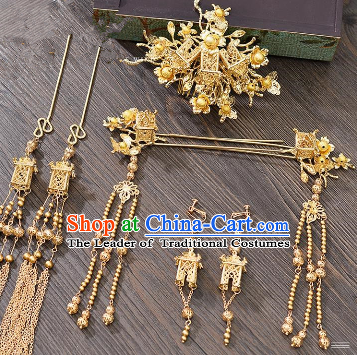 Traditional Handmade Chinese Ancient Wedding Hair Accessories Xiuhe Suit Golden Hair Comb Complete Set, Bride Tassel Step Shake Hanfu Hairpins Hair Sticks Hair Jewellery for Women