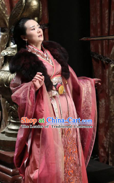 Traditional Chinese Qin Dynasty Palace Queen Mother Embroidery Costume and Headpiece Complete Set, The King Woman Chinese Ancient Empress Dowager Hanfu Dress