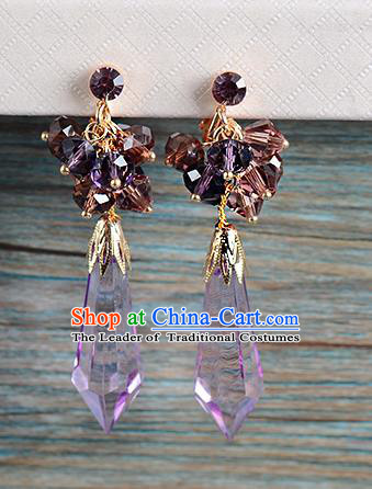 Top Grade Handmade Chinese Classical Jewelry Accessories Wedding Purple Crystal Tassel Earrings Bride Hanfu Eardrop for Women