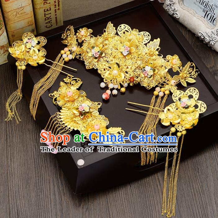 Traditional Handmade Chinese Ancient Wedding Hair Accessories Complete Set Xiuhe Suit Golden Phoenix Coronet, Bride Palace Lady Step Shake Hanfu Hairpins for Women