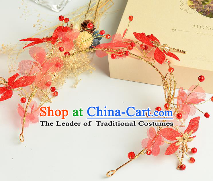 Top Grade Handmade Chinese Classical Hair Accessories Princess Wedding Baroque Red Flowers Dragonfly Hair Clasp Bride Headband for Women