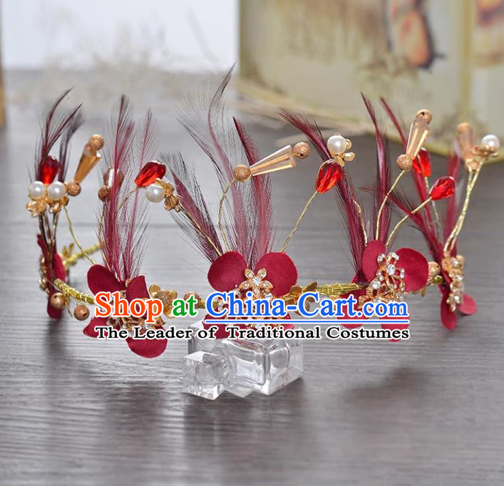 Top Grade Handmade Chinese Classical Hair Accessories Princess Wedding Baroque Red Feather Hair Clasp Bride Headband Royal Crown for Women