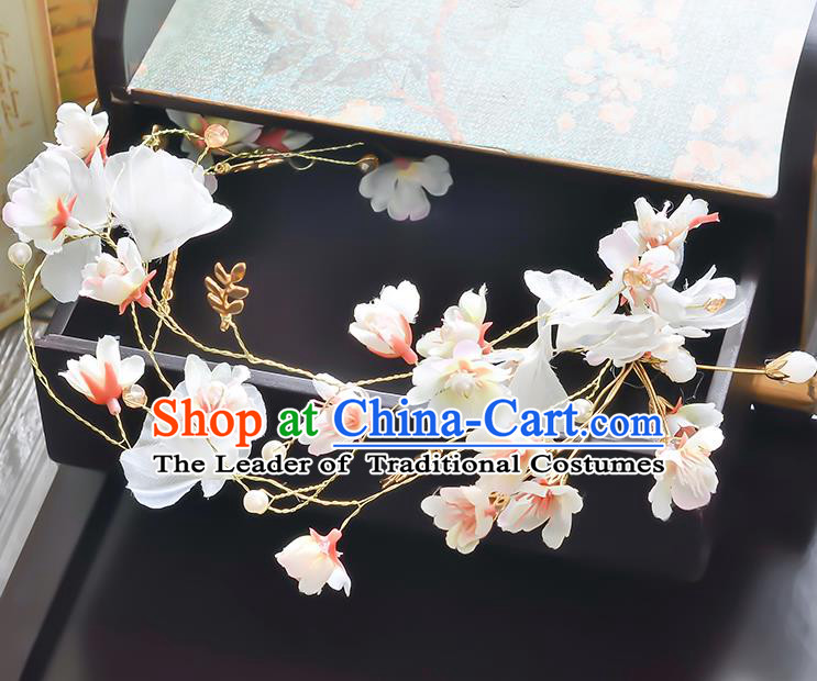 Top Grade Handmade Chinese Classical Hair Accessories Princess Wedding Baroque White Flowers Garland Hair Clasp Bride Headband for Women
