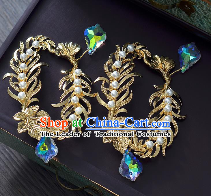 Top Grade Handmade Chinese Classical Hair Accessories Princess Wedding Baroque Golden Hair Claw Bride Headband for Women