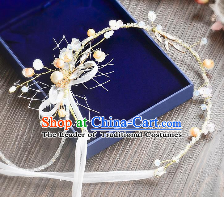 Top Grade Handmade Chinese Classical Hair Accessories Princess Wedding Baroque Beads Bowknot Hair Clasp Bride Headband for Women