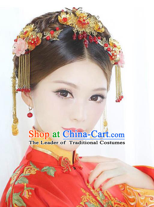 Traditional Handmade Chinese Ancient Costume Wedding Xiuhe Suit Hair Accessories Complete Set Hair Comb, Bride Palace Lady Tassel Step Shake Hanfu Hairpins for Women
