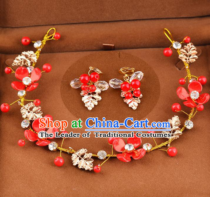 Top Grade Handmade Chinese Classical Hair Accessories Princess Wedding Baroque Red Flowers Hair Clasp and Earrings Bride Headband for Women