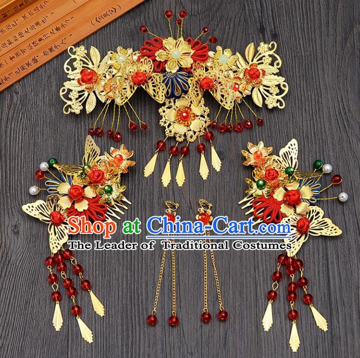 Traditional Handmade Chinese Ancient Costume Wedding Xiuhe Suit Bride Phoenix Coronet Hair Accessories Complete Set, Palace Lady Tassel Step Shake Hanfu Hairpins for Women