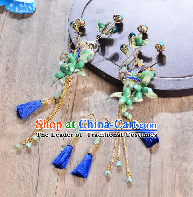 Traditional Handmade Chinese Ancient Costume Wedding Xiuhe Suit Bride Phoenix Coronet Hair Accessories Complete Set, Palace Lady Green Beads Tassel Step Shake Hanfu Hairpins for Women