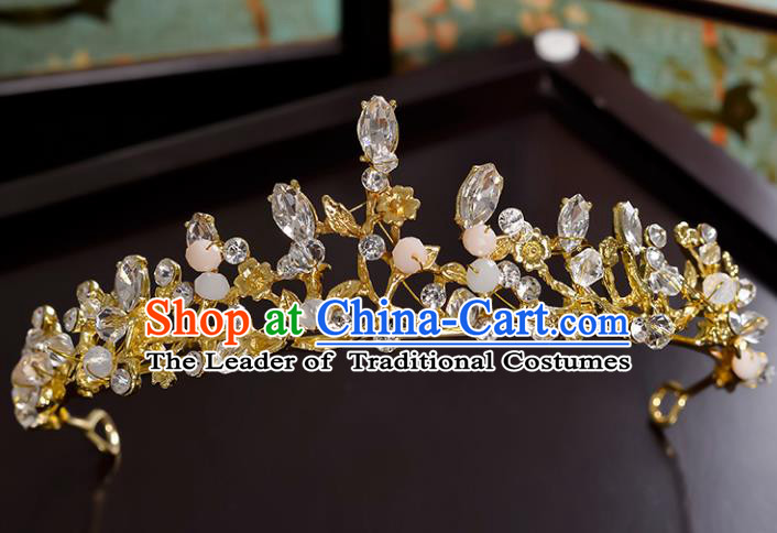 Top Grade Handmade Hair Accessories Baroque Style Princess Crystal Beads Vintage Royal Crown, Bride Wedding Hair Kether Jewellery Imperial Crown for Women