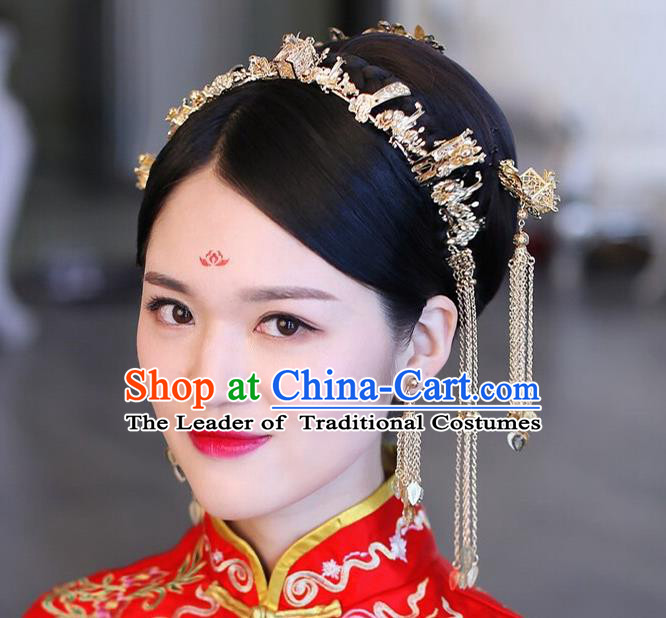 Traditional Handmade Chinese Ancient Wedding Xiuhe Suit Hair Accessories Golden Tassel Hair Clasp Complete Set, Bride Palace Lady Step Shake Hanfu Hairpins for Women