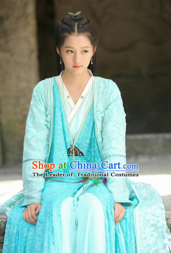 Traditional Chinese Ancient Times Nobility Lady Fairy Embroidery Costume and Headpiece Complete Set, Xuan-Yuan Sword Legend: The Clouds of Han Chinese Princess Hanfu Dress for Women