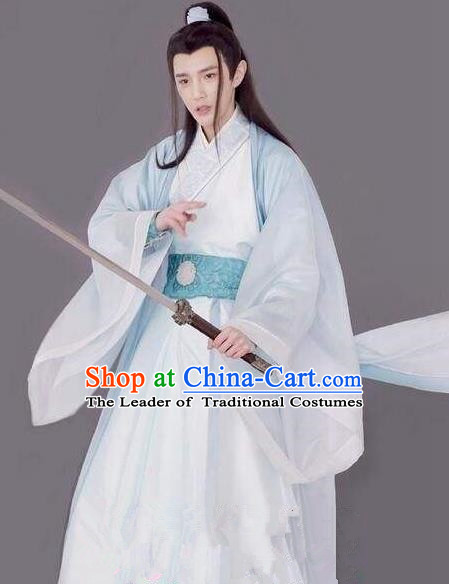 Traditional Chinese Ancient Times Swordsman Costume and Headpiece Complete Set, Xuan-Yuan Sword Legend  The Clouds of Han Chinese Prince Hanfu Robe for Men