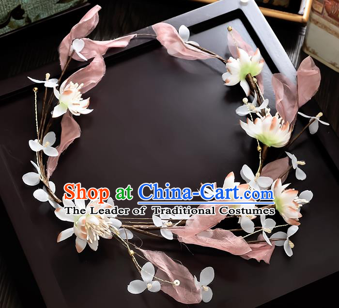 Top Grade Handmade Chinese Classical Hair Accessories Princess Wedding Baroque Pink Silk Leaf Flowers Garland Hair Clasp Headband Bride Headband for Women