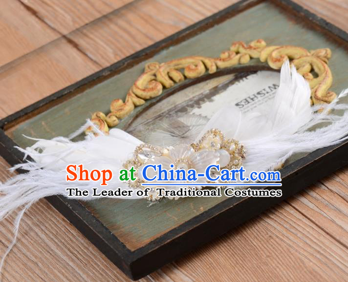 Top Grade Handmade Chinese Classical Hair Accessories Princess Wedding Baroque White Feather Hair Claw Bride Headband for Women